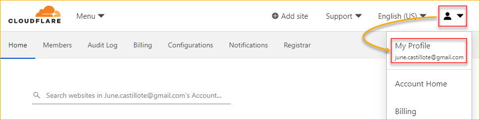 Opening your Cloudflare profile page
