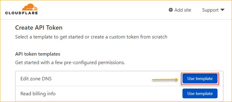 Selecting the Edit zone DNS API token template
