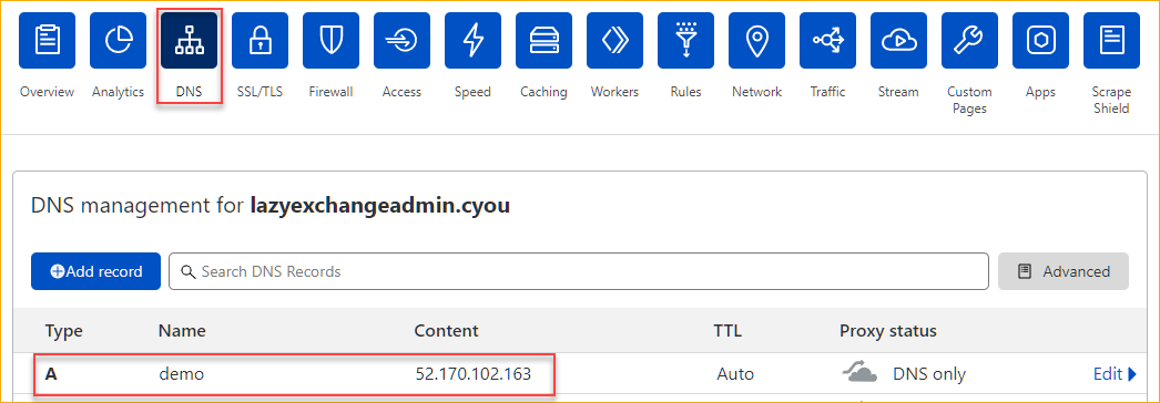 Verifying the DNS record in Cloudflare