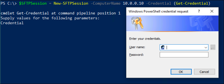 New-SFTPSession Credential Prompt