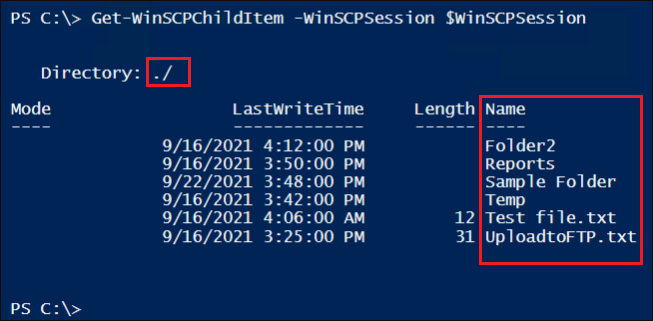 Displaying FTP server's content