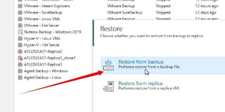 Choosing the option to Restore from Backed up Job