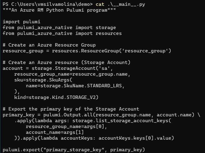 Pulumi main.py Azure resource script