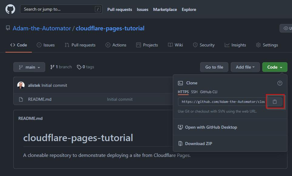 Retrieving the GitHub repository URL.