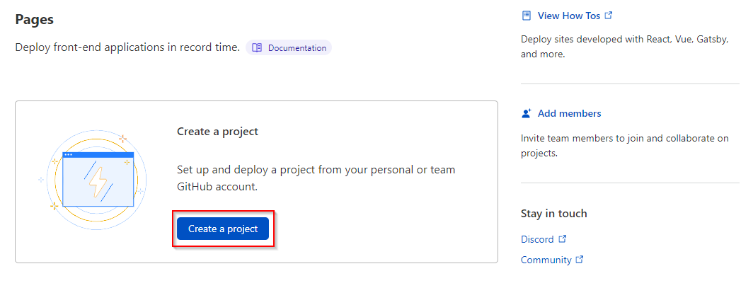 Creating a new Cloudflare Pages project.