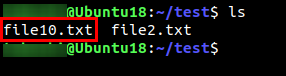 Confirming file1.txt is renamed as file10.txt