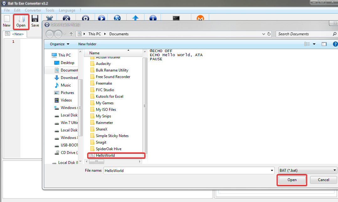 Opening Batch File to Convert to EXE File
