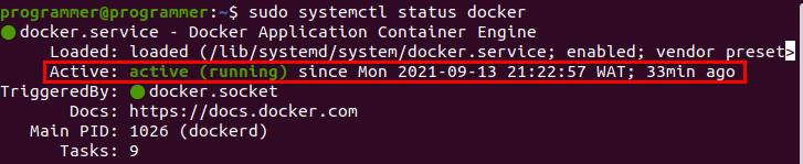 Displaying Docker Engine status