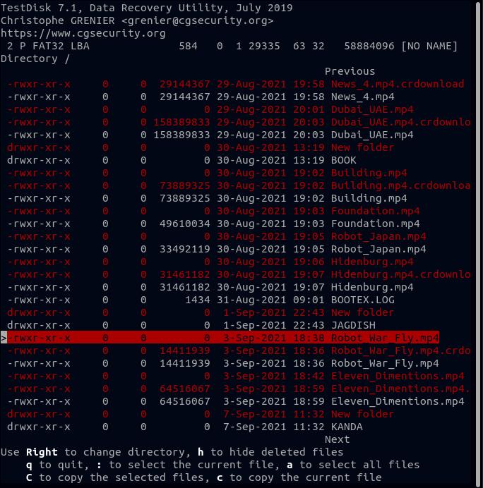 Selecting Delete File to Restore