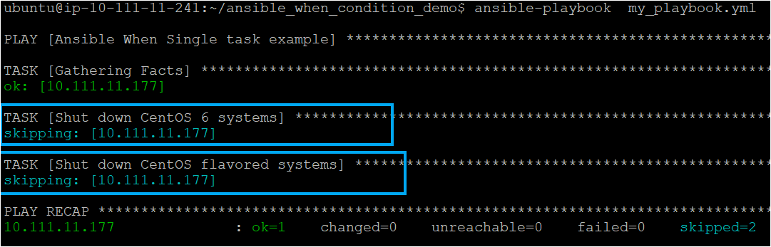 Executing the ansible-playbook with Ansible facts in Ansible when
