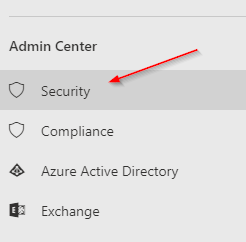 Navigating to the Office 365 Security & Compliance Center