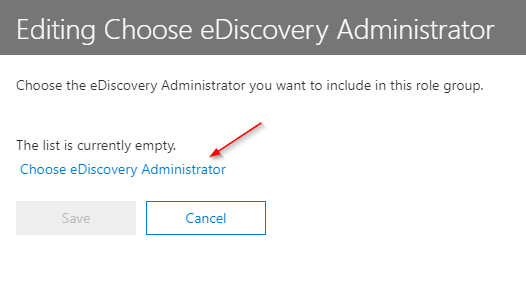 Editing the eDiscovery Administrator Role Assignment