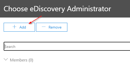 Adding a User to the eDiscovery Administrator role