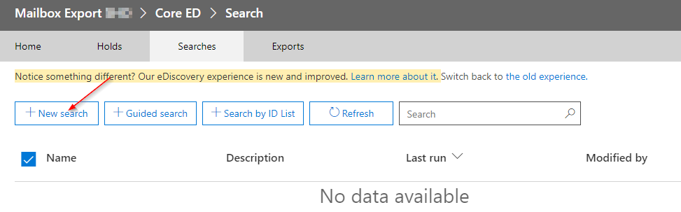 Creating a new eDiscovery Search