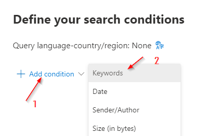 Defining the search conditions