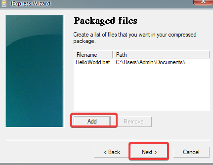 Choosing a batch file to convert to executable