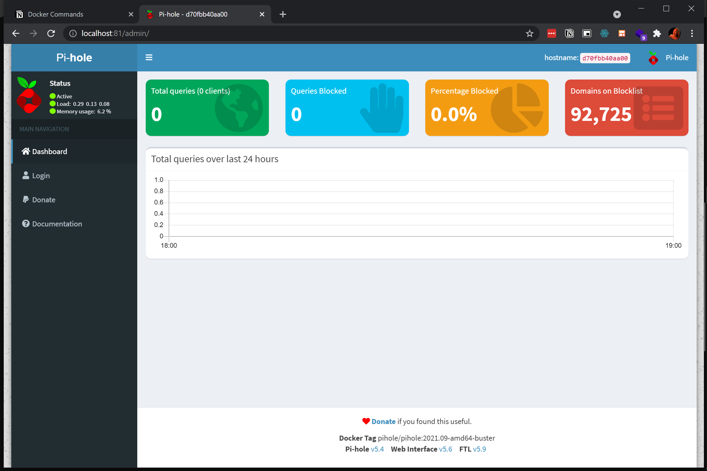 Viewing Pi-hole dashboard Default Page.