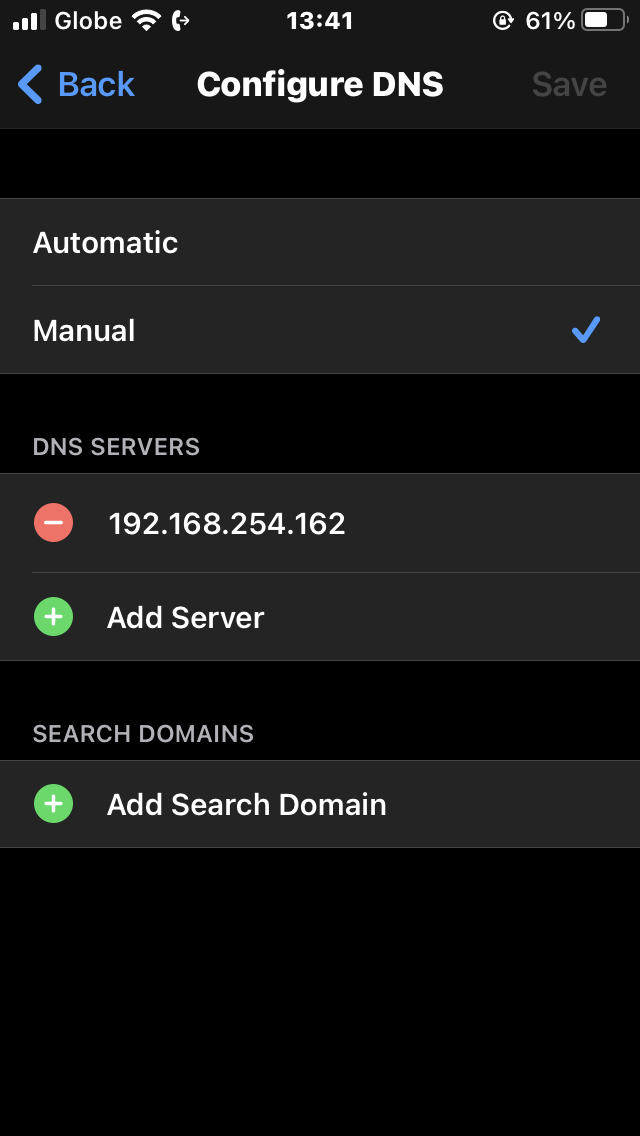 Configuring DNS server on smartphone