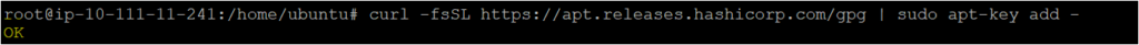 Trusting the HashiCrop site by adding the key on the ubuntu machine