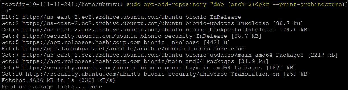 Adding the HashiCrop repository on the ubuntu machine