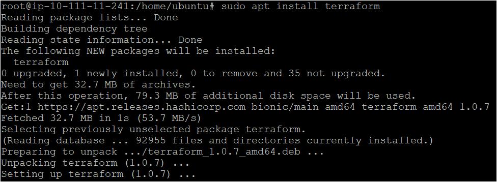 Installing the terraform package on an ubuntu machine